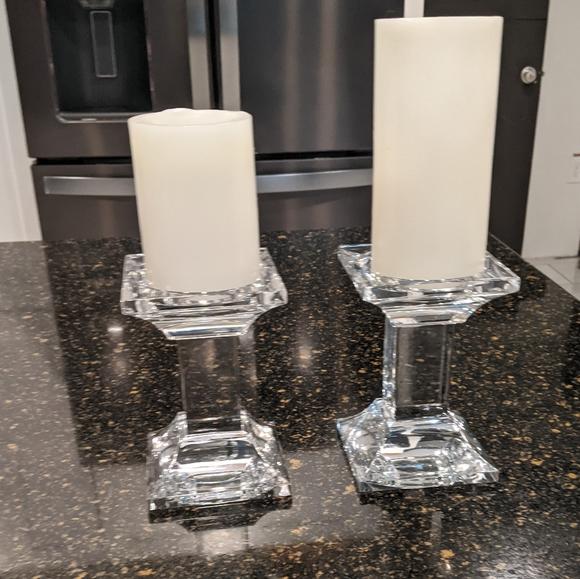 Glass pillar candle holder set